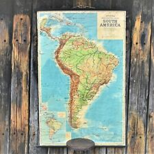 1940's Vintage Philip's Comparative Series of Large School Maps South America