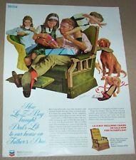 1973 print ad - La-Z-Boy recliner furniture family Dad kids dogs art artwork AD