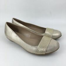Naturalizer 'Hint' Golden Metallic Leather Slip On Ballerinas Size 5UK 38EU