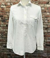 J.Crew Women's Size 2 White Cotton Button Front Long Sleeve Top Shirt #4C28