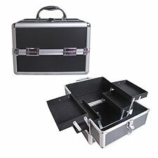 "10"" Pro Aluminum Makeup Train Case Jewelry Box Cosmetic Organizer Black  4 Trays"