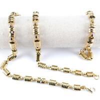 Halskette + Armband mit Karabinerverschluss aus Edelstahl - 61cm x 10mm