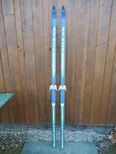 """New listing Vintage Hickory Wooden 79"""" Snow Skis Blue Finish Great Decoration"""