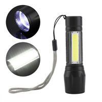 Portable T6 + COB Waterproof Telescopic zoom 4 Modes LED Torch Camping Outdoor