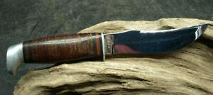 "VINTAGE CASE XX ""323-5"" Hunting Fixed Blade Knife Leather Sheath 8 Dot  (E13)"