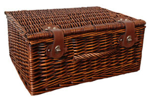 Traditional Large Picnic Xmas Gift Hamper Basket Storage with Lid - 45x38x20cm