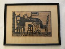 "Very Rare Signed Will Barnet ""Child Reaching"" Woodcut 1940 Print On Wood Veneer"