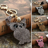 New Cute Fox Key Chain Rhinestone Pendant Keyring Key Ring Keychain Keyfob Gift