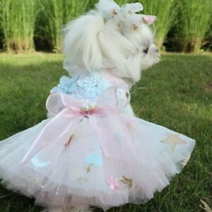 Dog Wedding Dress Clothes Lace Mesh Floral Embroidery Bow Princess Cute Pet Cute