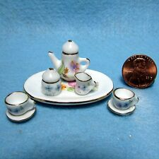Dollhouse Miniature Tea Pot Set  Floral Pattern ~ 10 Pcs  P455