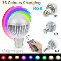 E27 B22 E14 5W RGB Bombilla LED ajustable 16 Luz cambia de color Lámpara de cont