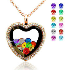 Fashion Living Memory Floating Charm Crystal Glass Heart Locket Pendant Necklace