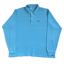 Vintage LACOSTE  Polo Shirt | Size 6 (XL) | Aqua Blue Classic Long Sleeve