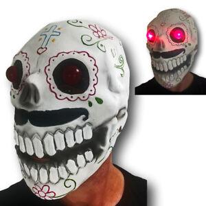 Teschio di Zucchero Maschera Rosso LED Occhi Giorno Dei Morti Bond Halloween