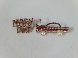 MARY KAY SET OF 2 PINS, PINK RHINESTONES, CAR
