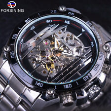 Forsining Hollow Mechanical Watch Stainless Steel Band Men's Self-Winding Watch