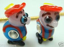 1pcs SILVER MURANO GLASS BEAD LAMPWORK Animal fit European Charm Bracelet n54