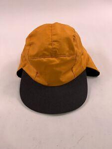 Vtg LL Bean Gore-tex Flap Cap Hat Fleece Made In USA Medium Large Hunting Yellow