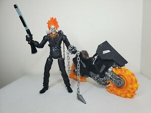 """Marvel Raging Ghost Rider 6"""" Nicolas Cage 2007 Legends scale W/Flame Motorcycle"""