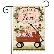 "Loads of Love Wagon Valentine's Day Garden Flag Primitive Hearts 12.5"" x 18"""