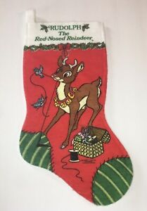 Vintage Rudolph The Red Nosed Reindeer Christmas Stocking