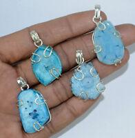 Blue Druzy Gemstone 925 sterling silver overlay pendants Wholesale Lot Jewelry