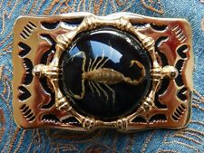 NEW HANDCRAFTED DARK SCORPION BELT BUCKLE GOLD COLOUR METAL COWBOY WESTERN GOTH