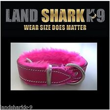Small Pink Pure Leather Dog Collar with Soft Fluro Pink Faux Fur Inner Lining