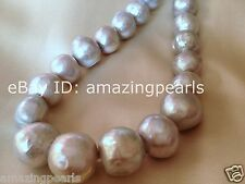 12-15mm Genuine Freshwater Pearl Cultured Loose Bead Silver Gray Round Potato AA