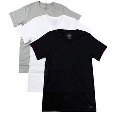 Calvin Klein Men's 3-Pc Grey/White/Black Cotton V-Neck Basic T-Shirt