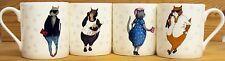 Cats 'n' Tats Mugs Set of 4 Fine Bone China Fashion Family Cats Made in the UK