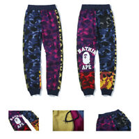 Bape A Bathing Ape Multicolor Loose Trousers Monkey Head Long Pants Sweatpants