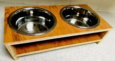 PET DOG BOWL FEEDER WOODEN RAISED PREMIUM