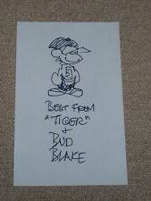 "Signed Original Sketch of ""TIGER"" by BUD BLAKE..on 3x5 Card..MINT,,"