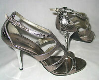 Charlotte Russe silver snake stiletto sandals t strap womens 7.5 minimal use HOT