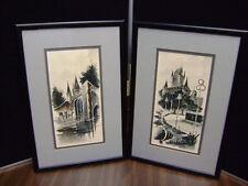 Vintage Set of European Framed Watercolor Paintings Original Artist Signed