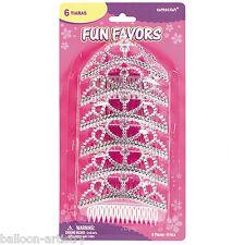 6 Princess Party Children's Birthday Party Favours Sparkle Plastic Crown Tiaras