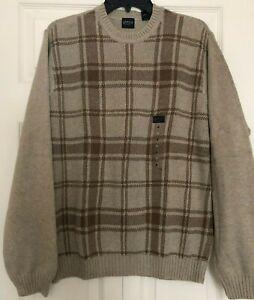 Arrow Men's Classic-Fit Mid-Weight 100% Cotton Plaid Crewneck Sweater