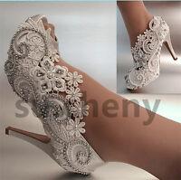 "su.cheny 3"" 4"" heel satin white ivory lace pearls open toe Wedding Bridal shoes"