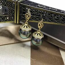 charming10-11mm tahitian  round black green pearl earring 925s
