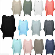 New Ladies Womens Italian Plain Loose Fit Batwing Lagenlook Kimono Top Plus Size