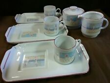 "HARD TO FIND.Vtg.Ancap Italian Porcelain ""Beach Front"" Expresso Snack Tray Set"