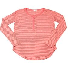 Gap Womens Top Size Small Long Sleeve Coral Henley Striped Rayon Thermal Tee 65