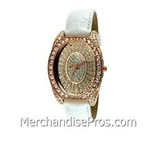 PEUGEOT COUTURE ROSE GOLD CRYSTAL CASE WOMEN'S WATCH WITH WHITE LEATHER BAND NEW