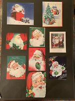 Lot of 9 mid century vintage Santa Christmas cards, Preowned & Used