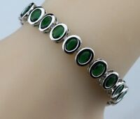 Lovely Green Emerald  Oval Shaped Gemstones Tennis 925 Silver Bracelet 7-8""