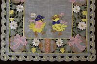 Easter Organza Embroidered Lace Baby Chicken Egg Placemat Table Runner Scarf