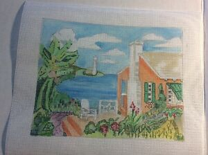 Handpainted Needlepoint Canvas Seaside House