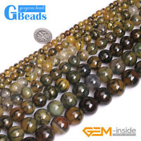 6-18mm Dark Yellow Dragon Veins Agate Gemstone Round Beads for Jewelry Making