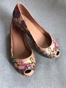 Mini Melissa Flamingo Shoes Size 2 Mary Janes Dress Shoes Slip on EUC